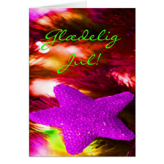 Danish Glædelig Jul,Godt Nytår Purple Star I Greeting Card