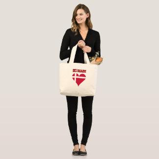 Danish heart flag large tote bag