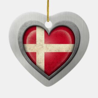 Danish Heart Flag Stainless Steel Effect Ornaments