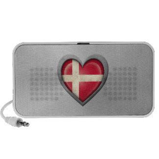 Danish Heart Flag Stainless Steel Effect Notebook Speakers