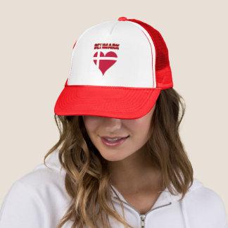 Danish heart flag trucker hat