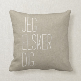 Danish I Love You Jeg Elsker Dig Tan Throw Pillow
