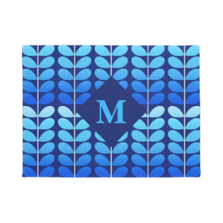 Danish Leaves With Monogram, Navy and Cobalt Blue Doormat