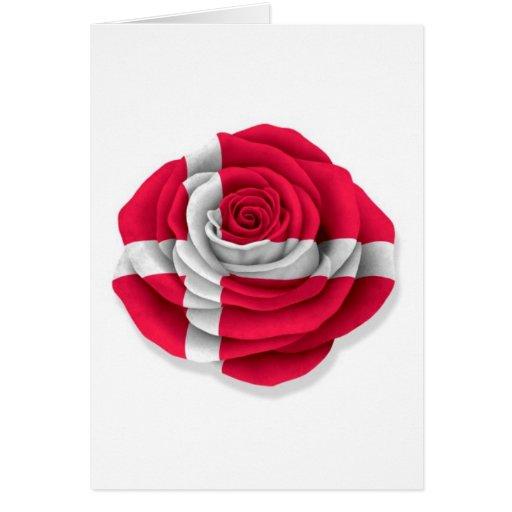 Danish Rose Flag on White Greeting Card