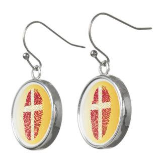 Danish touch fingerprint flag earrings