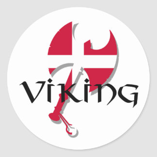 Danish Viking Denmark flag Axe Classic Round Sticker