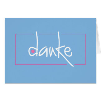 Danke Blue and Pink Thank you in any language Card