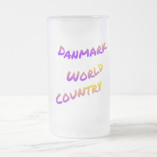 Danmark world country, colorful text art frosted glass beer mug