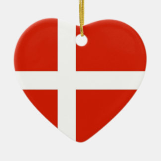 Dannebrog; The Official Flag of Denmark Ceramic Heart Decoration