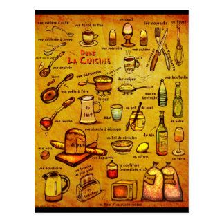 Dans La Cuisine - french vocab card Postcard