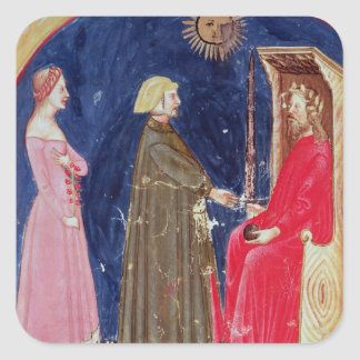 Dante and Beatrice before Justinian Square Sticker