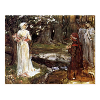 Dante and Beatrice by John William Waterhouse Postcard