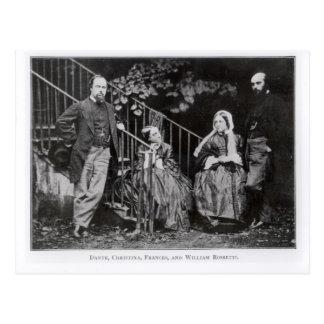 Dante, Christina, Frances and William Rossetti Postcard