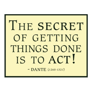 Dante quote on the power of Action Postcard