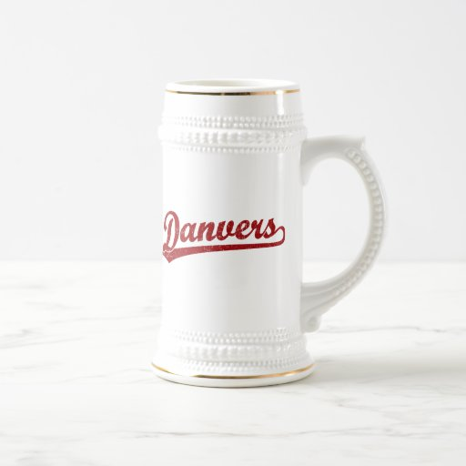 Danvers script logo in red mugs