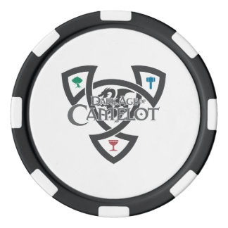 DAoC Knot Clay Poker Chips, Black Striped Edge Set Of Poker Chips