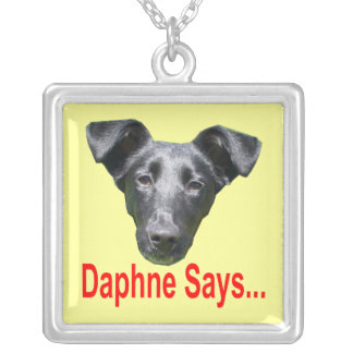 Daphne Says... Logo Square Pendant Necklace