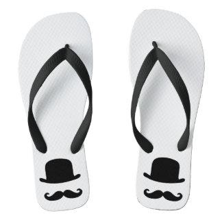 Dapper Dan flipflops with bowler and mustache