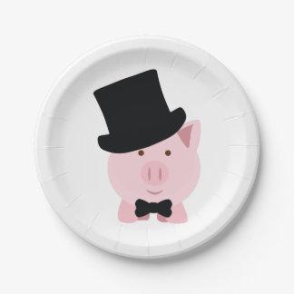 Dapper Pig Paper Plate