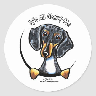 Dapple Dachshund Its All About Me Classic Round Sticker