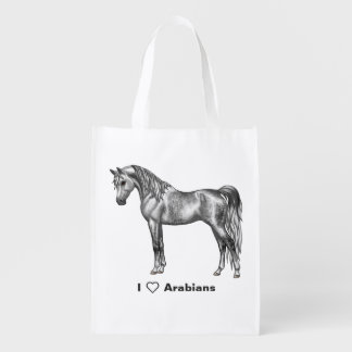 Dapple Grey Egyptian Arabian Horse Reusable Grocery Bag