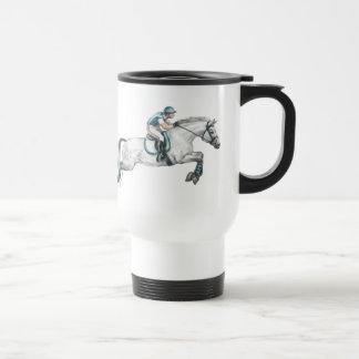 Dapple Grey Eventing Horse Jumping Travel Mug