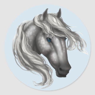 Dapple Grey Horse Head Classic Round Sticker