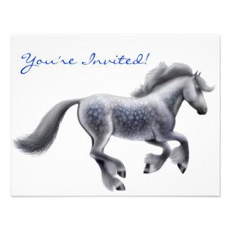 Dappled Grey Draft Horse Invitation