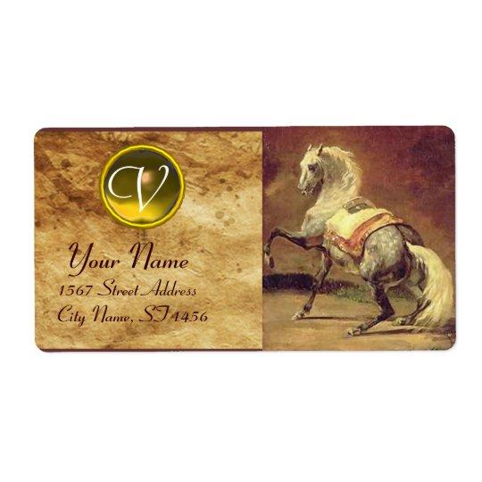 DAPPLED GREY HORSE MONOGRAM , brown gold yellow Shipping Label