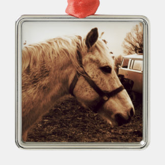 Dappled Horse and Bus Metal Ornament
