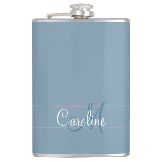 Dappled Teal Monogram Hip Flask