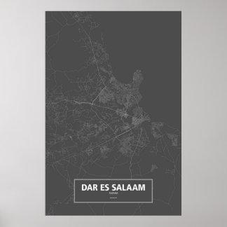 Dar es Salaam, Tanzania (white on black) Poster