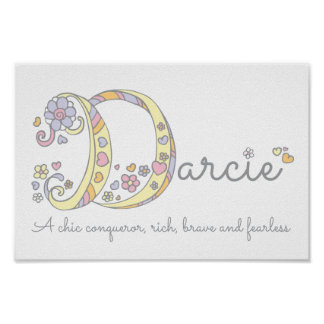 Darcie letter D name meaning girls art poster