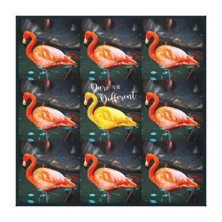 """Dare"" Quote Orange Pink & Yellow Flamingos Photo Canvas Print"