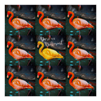 """Dare"" Quote Orange Pink & Yellow Flamingos Photo Poster"