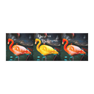 """Dare"" Quote Orange & Yellow Flamingos Trio Photo Canvas Print"