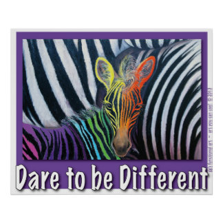 dare to be different Baby Zebra Design by GG Burns Poster