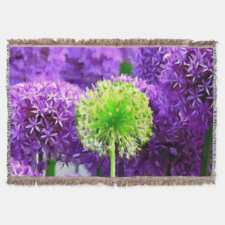 Dare to Be Different Green Flower Purple Afghan Throw Blanket