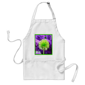 Dare to Be Different Lime Green Purple Flowers Apron