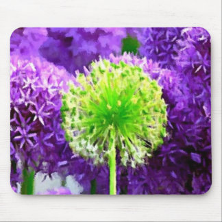 Dare to Be Different Lime Green Purple Flowers Mousepads