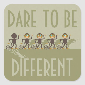 Dare to be different, monkeys, safari square sticker