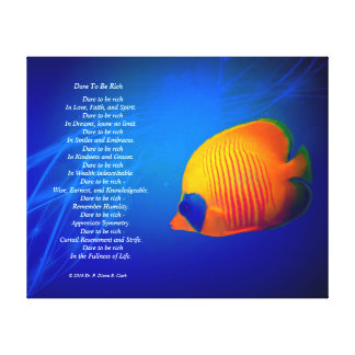 """Dare to be Rich""  Blue and Orange Fish Canvas Print"