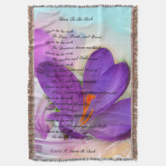 """Dare To Be Rich"" Purple Crocus Throw Blanket"