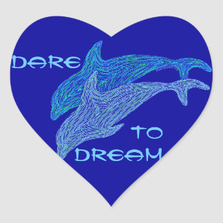 Dare To Dream Dancing Dolphins Fun Heart Stickers
