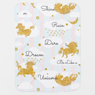 Dare to Dream Like a Unicorn Gold Glitter Buggy Blanket