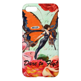 Dare to Fly 1920s Flapper Butterfly Inspirational iPhone 7 Case