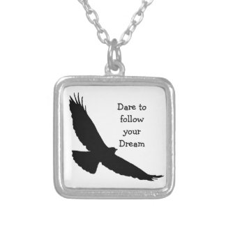 Dare to follow your Dream Hawk Silhouette Silver Plated Necklace