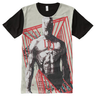 Daredevil Abstract Sketch All-Over Print T-Shirt