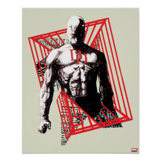 Daredevil Abstract Sketch Poster