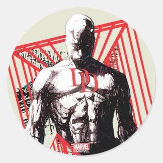 Daredevil Abstract Sketch Round Sticker